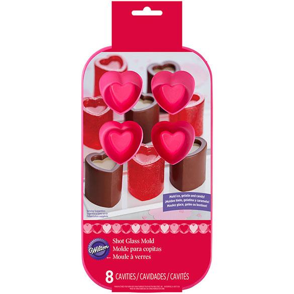 Molde vasitos corazones, 8 cavidades, Wilton