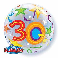 Globo transparente decorado burbuja 30 años