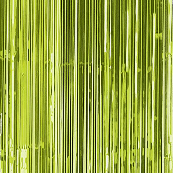 Cortina flecos puerta verde kiwi