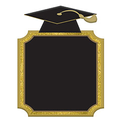 Pizarra graduación con Birrete