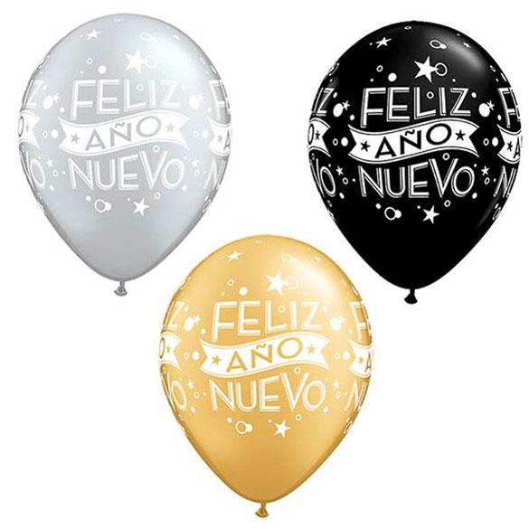 Globos de Látex Feliz Año Nuevo. Pack 10 unidades