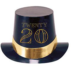 Chistera de cartón negra Happy New Year 2020
