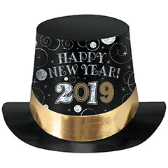 Chistera de cartón negra Happy New Year 2019
