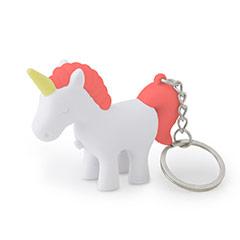 Llavero unicornio blanco y rojo