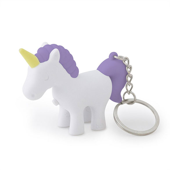 Llavero unicornio blanco y morado