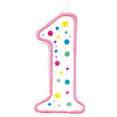 Vela cumpleaños número 1 borde rosa y lunares