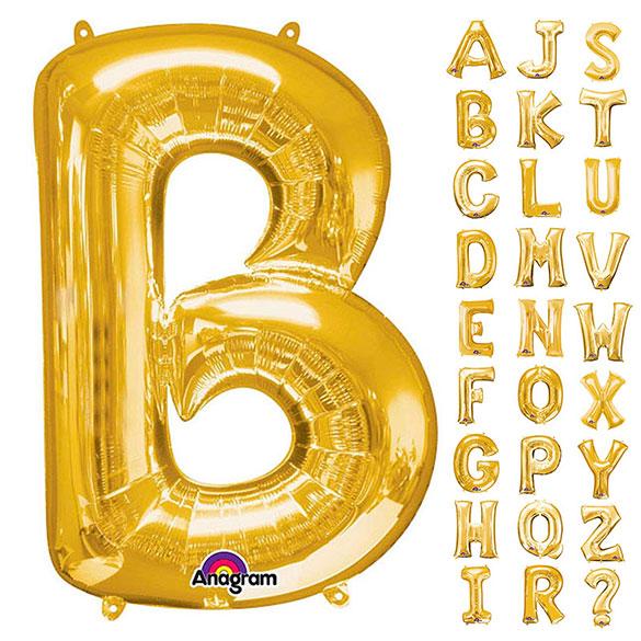 Globos con forma letras de la A a la Z Dorados