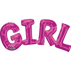 Globo texto Girl rosa 50 X 22 cm