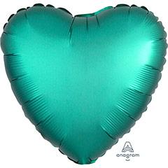 Globo Corazón Verde Jade Satín