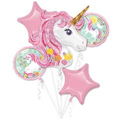 Ramo de 5 globos metálicos Unicornio