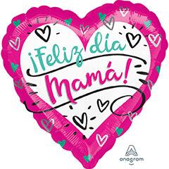 Globo Corazón Feliz día Mamá fucsia/blanco