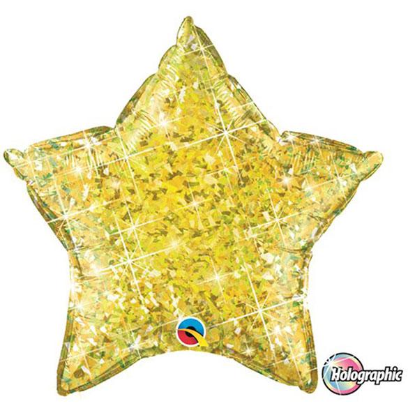 Globo Estrella holográfica amarillo