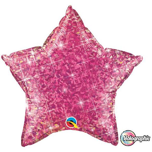 Globo Estrella holográfica magenta