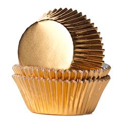 Cápsulas cupcakes doradas metálicas Wilton, Pack 24 u.