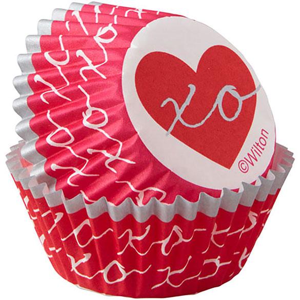 Cápsulas mini cupcakes corazones, Pack 100 u.