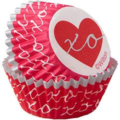 Cápsulas mini cupcakes corazones, Pack 100 u. - Ítem