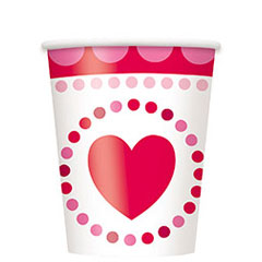 Vasos Corazones 266 ml, Pack 8 u.