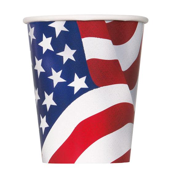 Vasos cartón encerado bandera USA