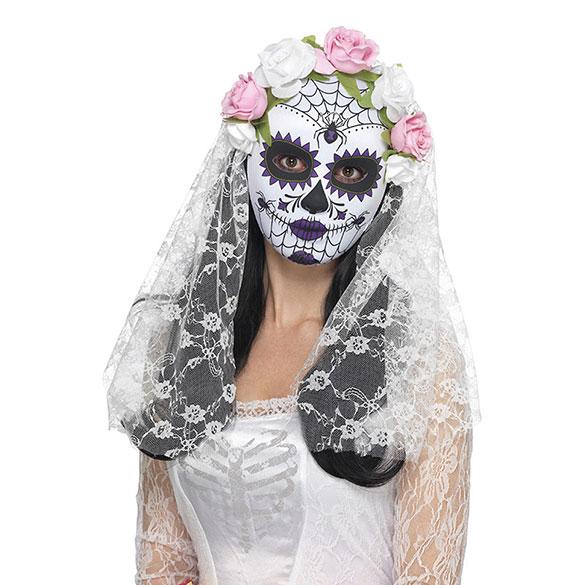 Careta de novia del día de muertos, Blanca, con rosas y velo