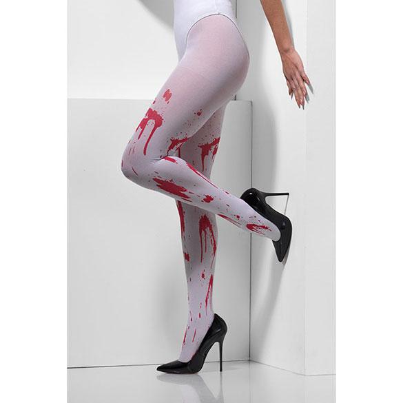 Medias panty blancas opacas con sangre