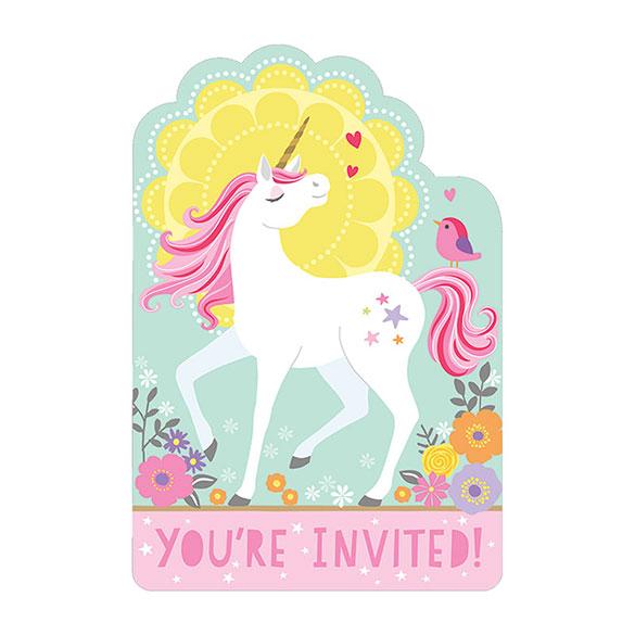 Invitaciones Cumpleaños Unicornio Pack 8 U