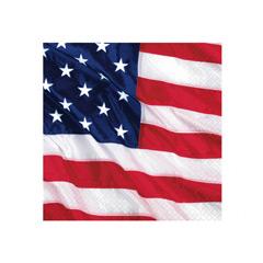 Servilletas Bandera USA 25 x 25 cm, Pack 16 u.
