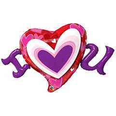 Globo corazón con mensaje I Love You