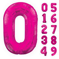 Globos con formas de números fucsia