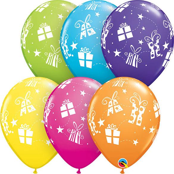 Globos Látex colores surtidos con regalos. Pack 6 u.