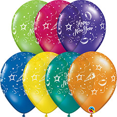 Globos de látex Happy New Year. Pack de 10 u.
