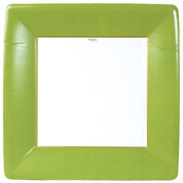 Platos ribete verde claro Navidad cuadrados 26 cm, Pack 8 u.