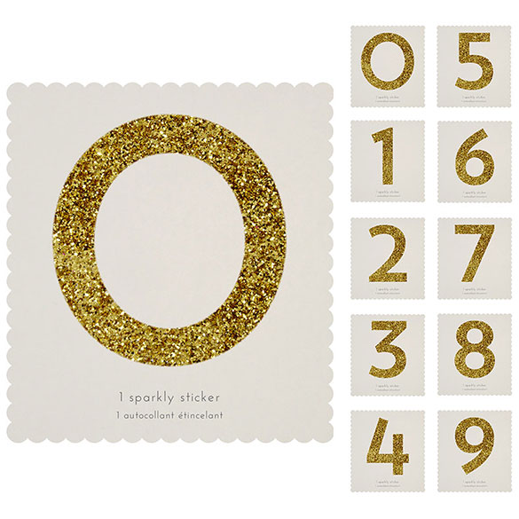 Número adhesivo dorado con purpurina, de 10 cm de alto.