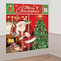 Fondo de Pared Noche. Decoración Navideña Papá Noel