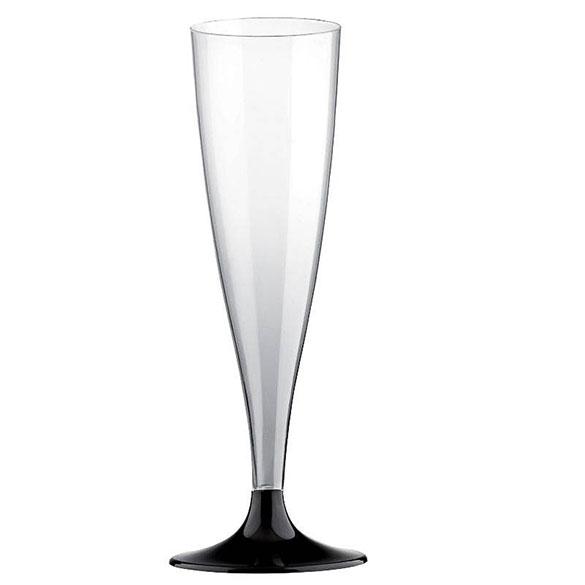Copas champagne plástico negras, Pack 6 u.