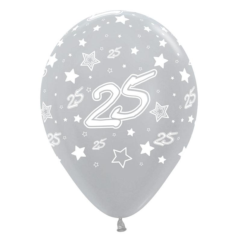 Globos de Látex 25 aniversario. Pack 12 u.