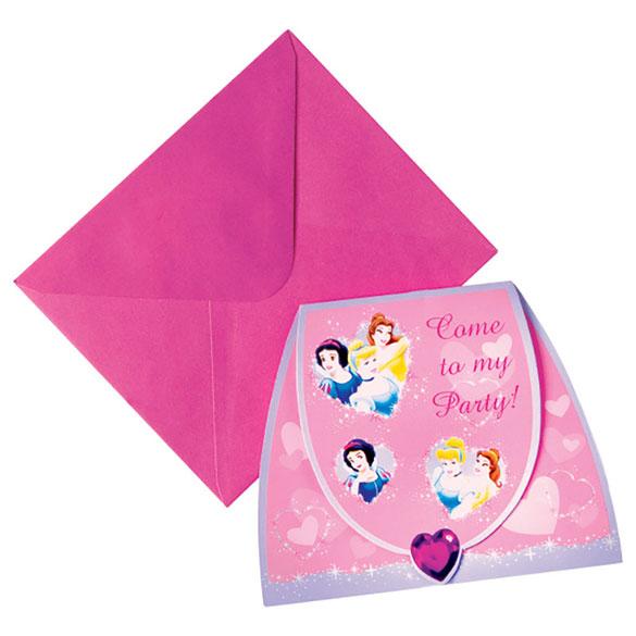 Invitaciones cumpleaños Princesas Disney, Pack 6 u.