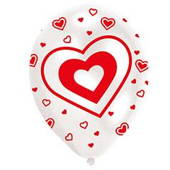 Globos de látex blancos con corazones rojos, Pack 6 u.