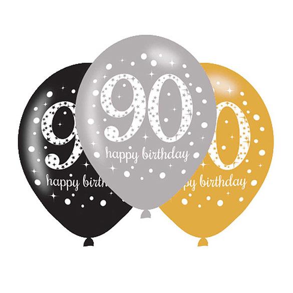 Globos De Látex 90 Años Colores 6 U Recíbelos Inflados