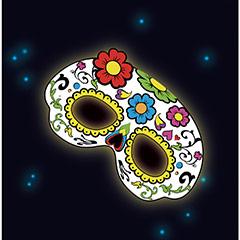 Máscara floral con luz química brilla en la oscuridad