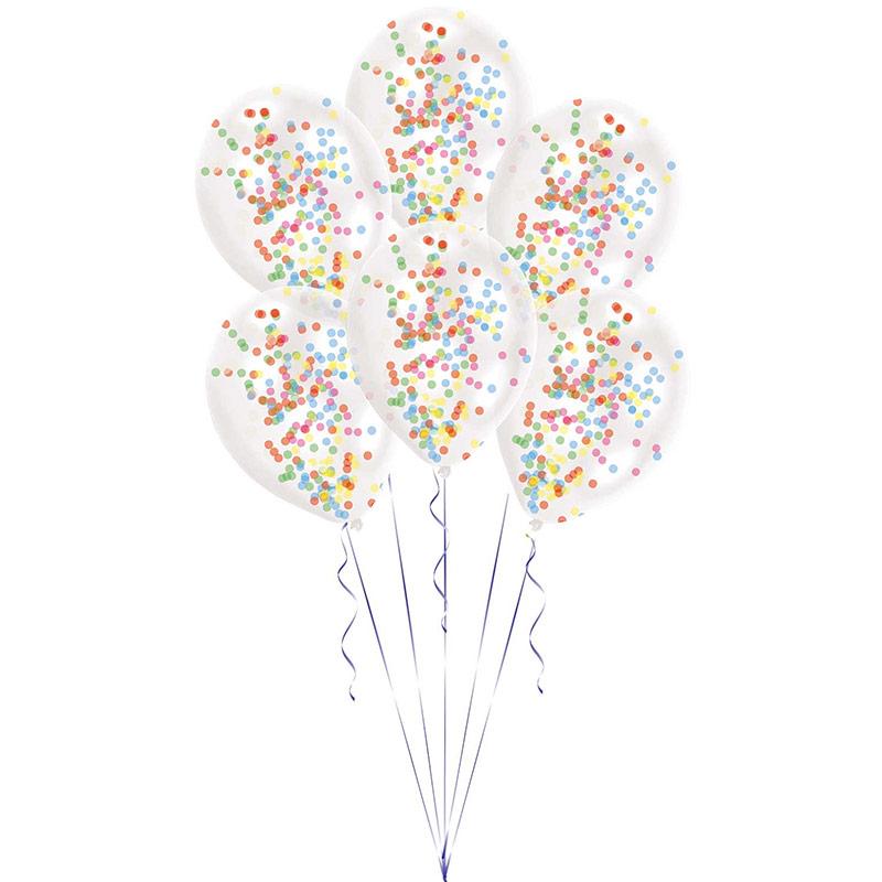 Globos transparentes con confeti Multicolor, Pack de 6u.