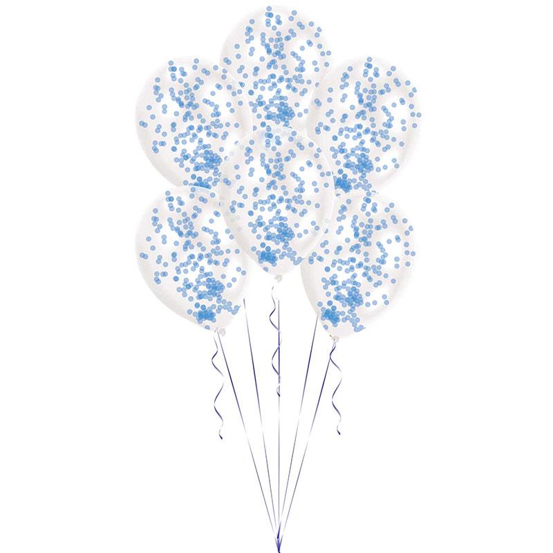 Globos transparentes con confeti Azul, Pack de 6u.