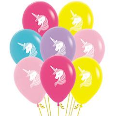 Globos Látex Unicornio, Pack 6 u.