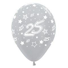 Globos de Látex 25 aniversario. Pack 10 unidades