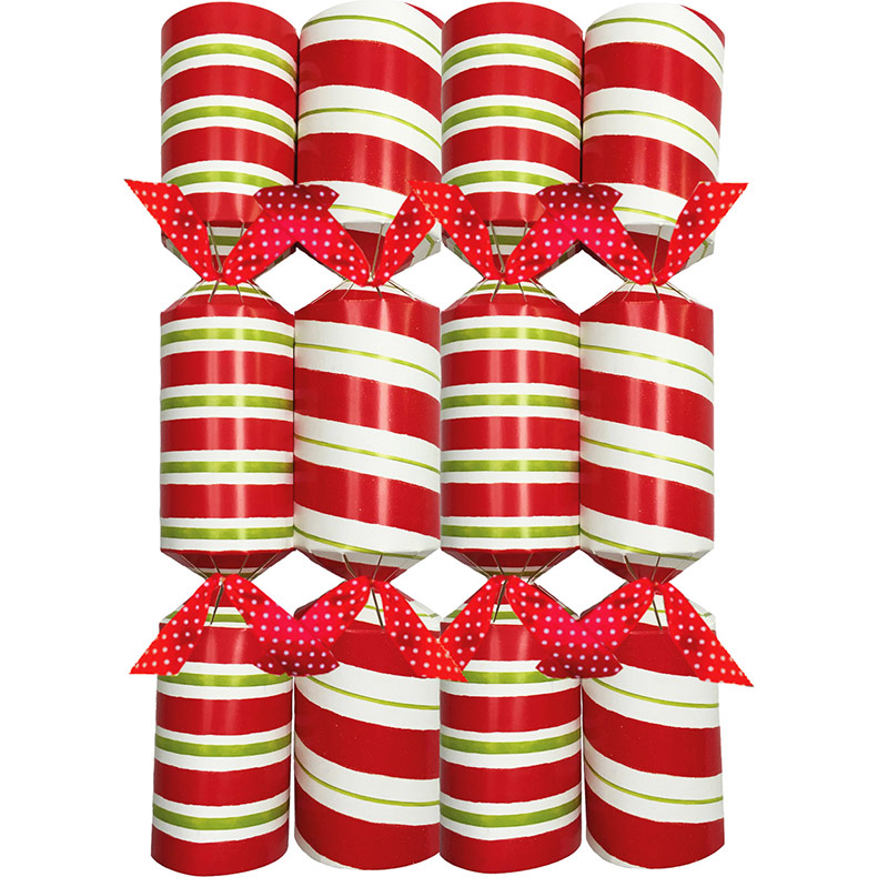 Candy Stripe Celebration. Christmas Crackers. 25 cm, Pack 8 u.