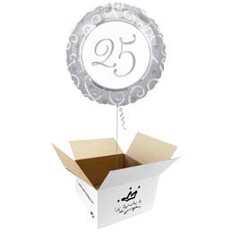 Globo 25 Aniversario en caja sorpresa