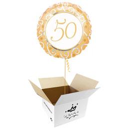 Globo 50 Aniversario en caja sorpresa