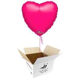 Globo Corazón Fucsia en caja sorpresa