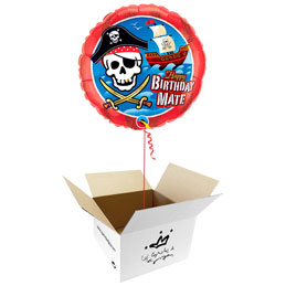 Globo Piratas Happy Birthday en caja sorpresa