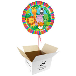 Globo Jungla Happy Birthday en caja sorpresa