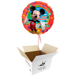 Globo Mickey Mouse Happy Birthday en caja sorpresa